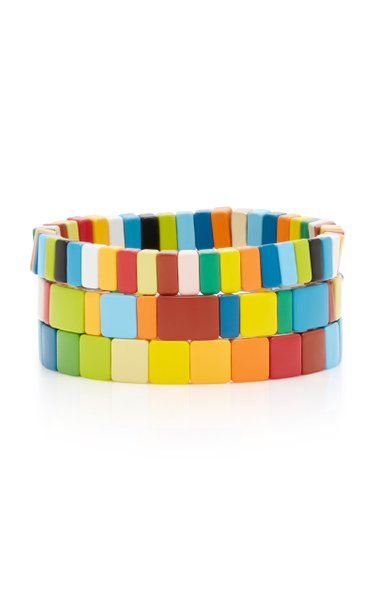 Set-Of-Three Rainbow Brite Enamel Bracelets