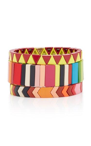 Set-Of-Three Picnic Blankets Gold-Plated Enamel Bracelets