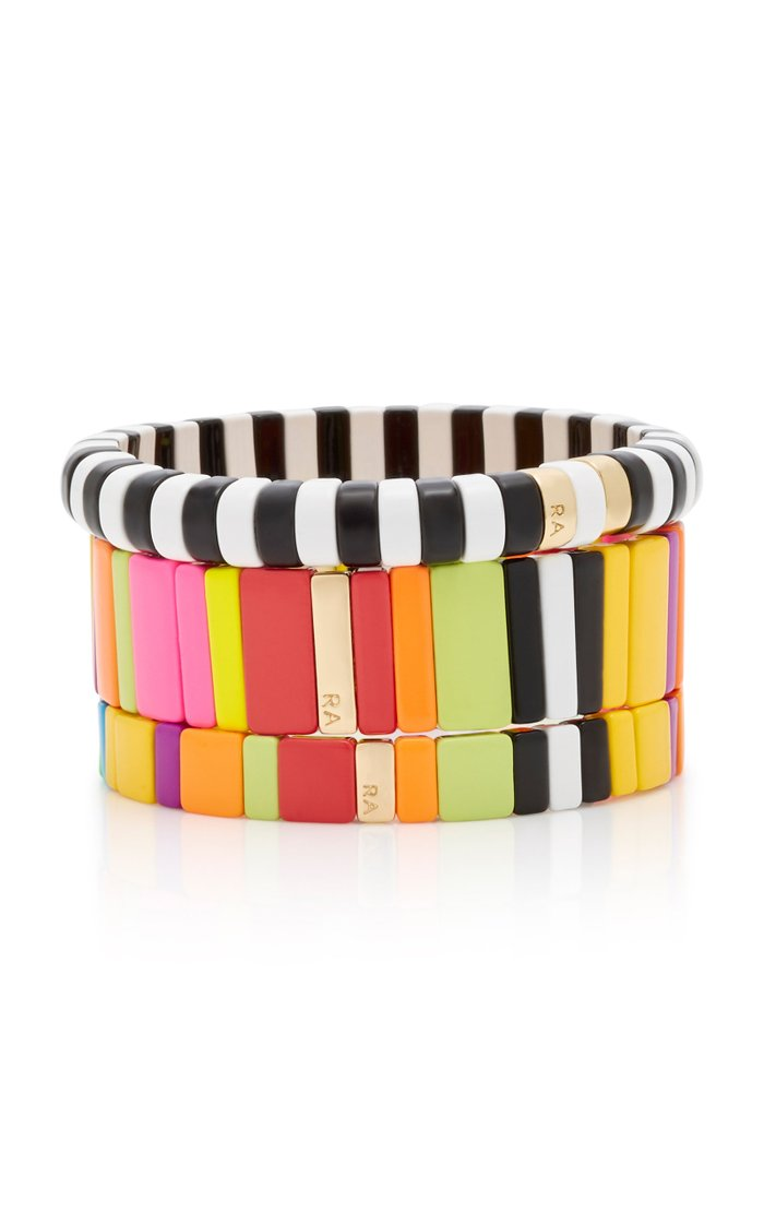 Set-Of-Three Life Of The Party Gold-Plated Enamel Bracelets