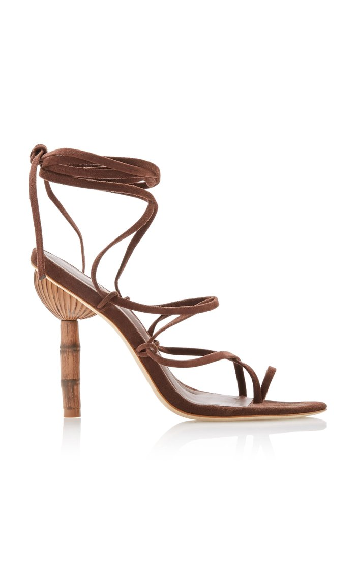 Adina Wrap-Tie Bamboo Leather Sandals