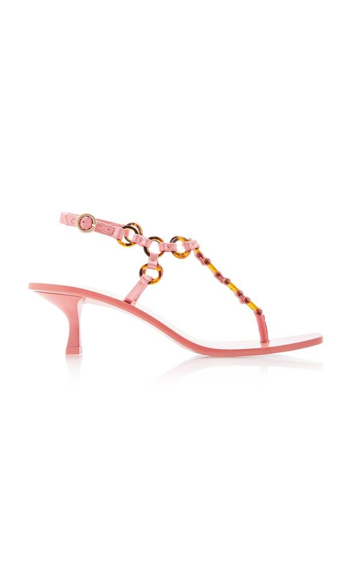 Caitlyn Leather Kitten-Heel Sandals