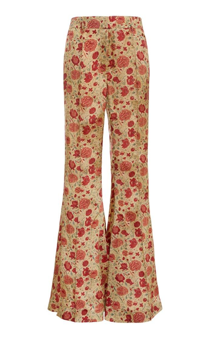 Stockard Printed Crepe Flare-Leg Pants