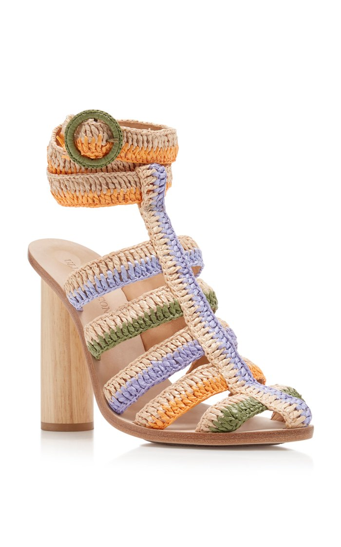 Katya Caged Raffia Sandals
