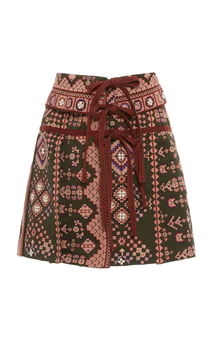 Shaia Printed Cotton Mini Skirt