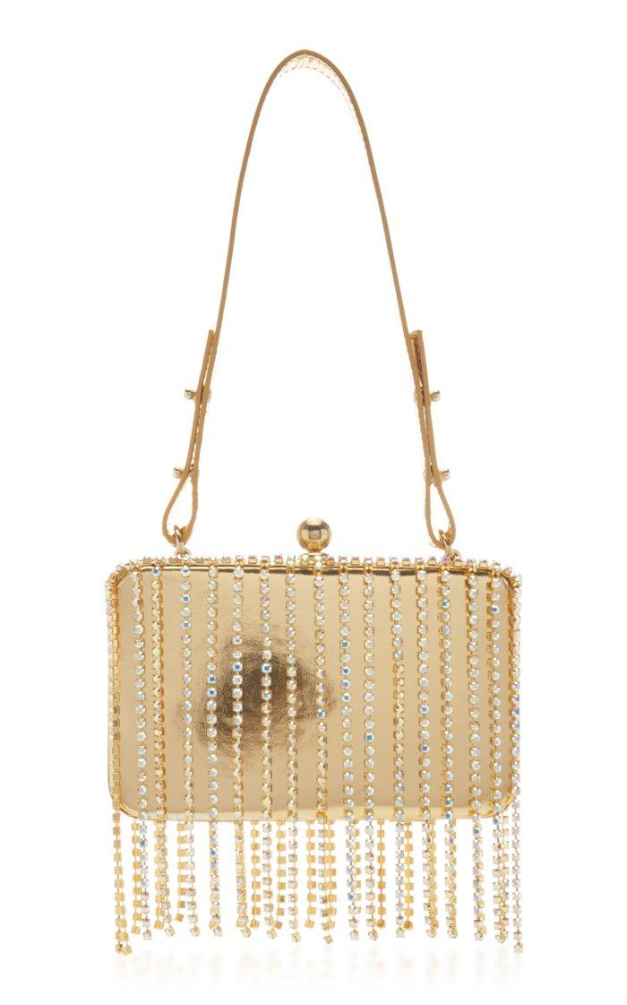 Mirrored Crystal Fringe Shoulder Bag