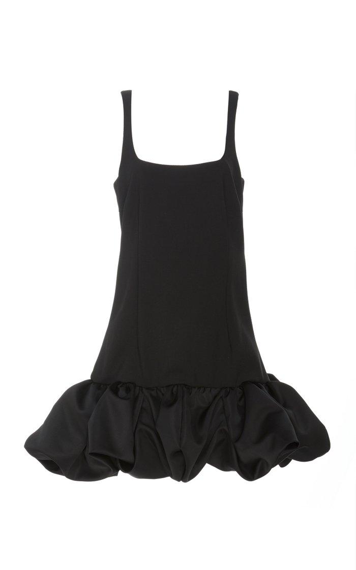 Ruffled Crepe Mini Dress