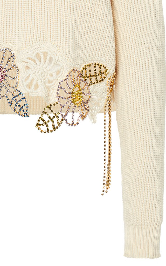 Crystal Embellished Ribbed-Knit Sweater