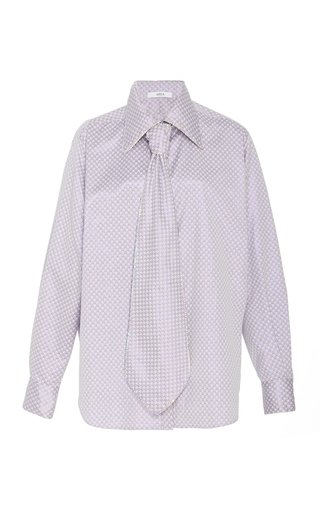 Cystal-Embellished Tie-Accented Printed Shirt