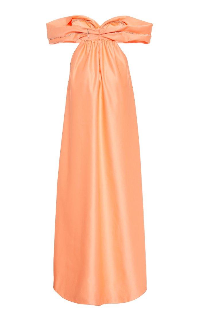 Embellished Satin Off-The-Shoulder Gown