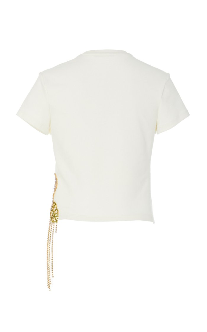 Crystal-Embellished Jersey Cropped Top