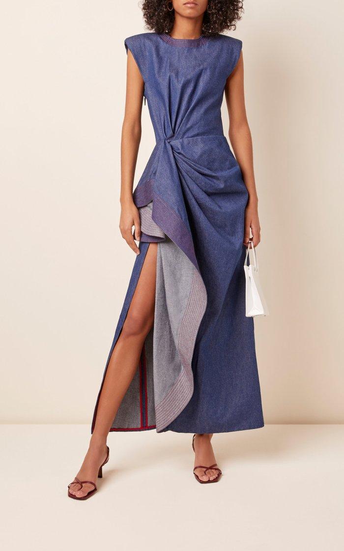 Asymmetric Draped Cotton Maxi Dress