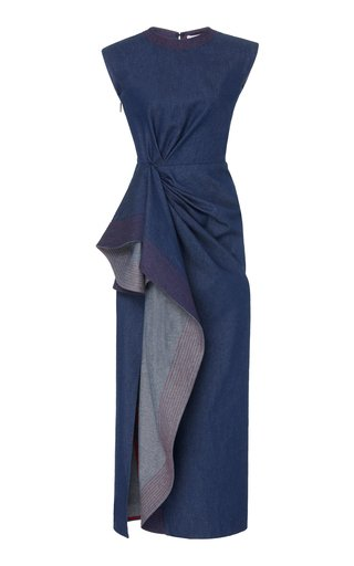 Asymmetric Draped Cotton Maxi Dress