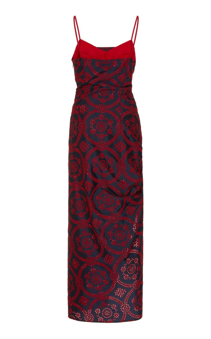 Printed Ruched Sateen Dress