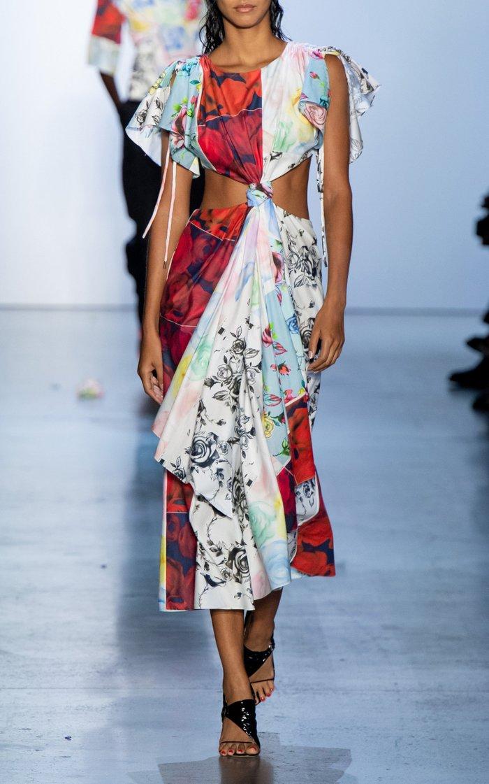 Printed Silk Cutout Midi Dress