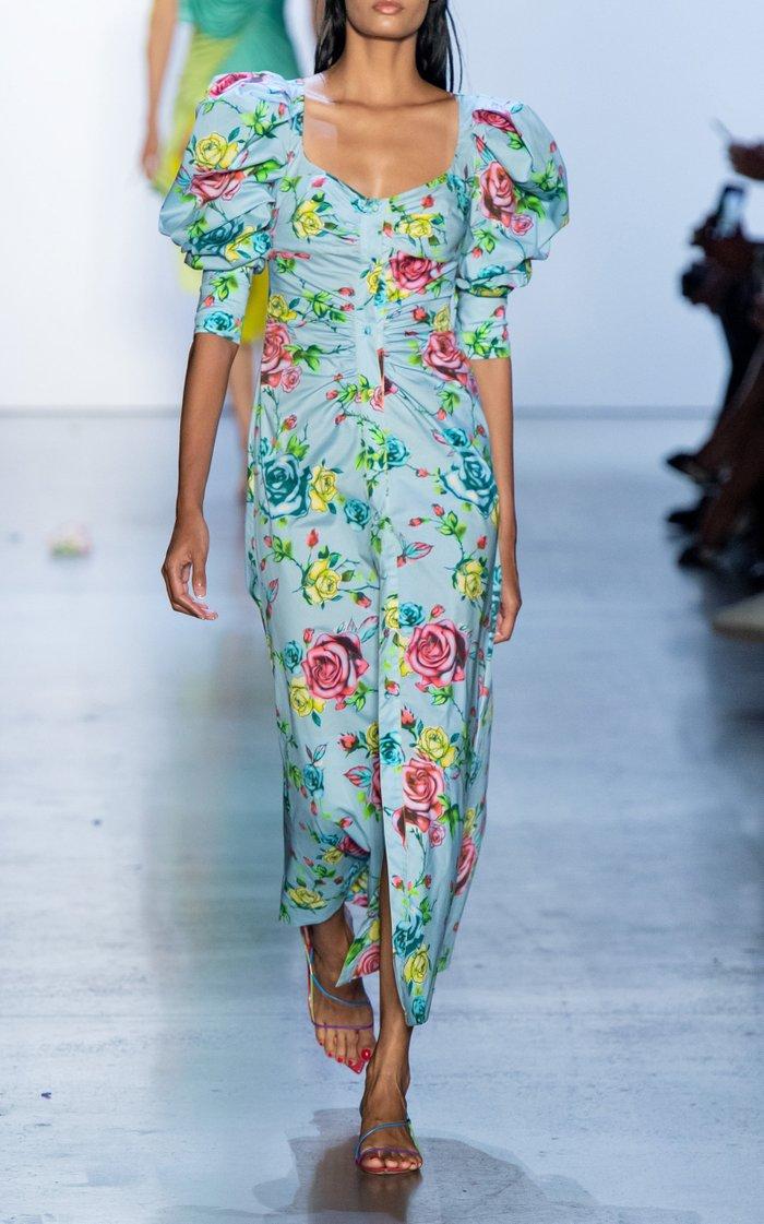 Floral-Print Cotton-Blend Shirt Dress