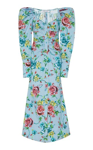 Floral-Print Cotton-Blend Shirt Dress