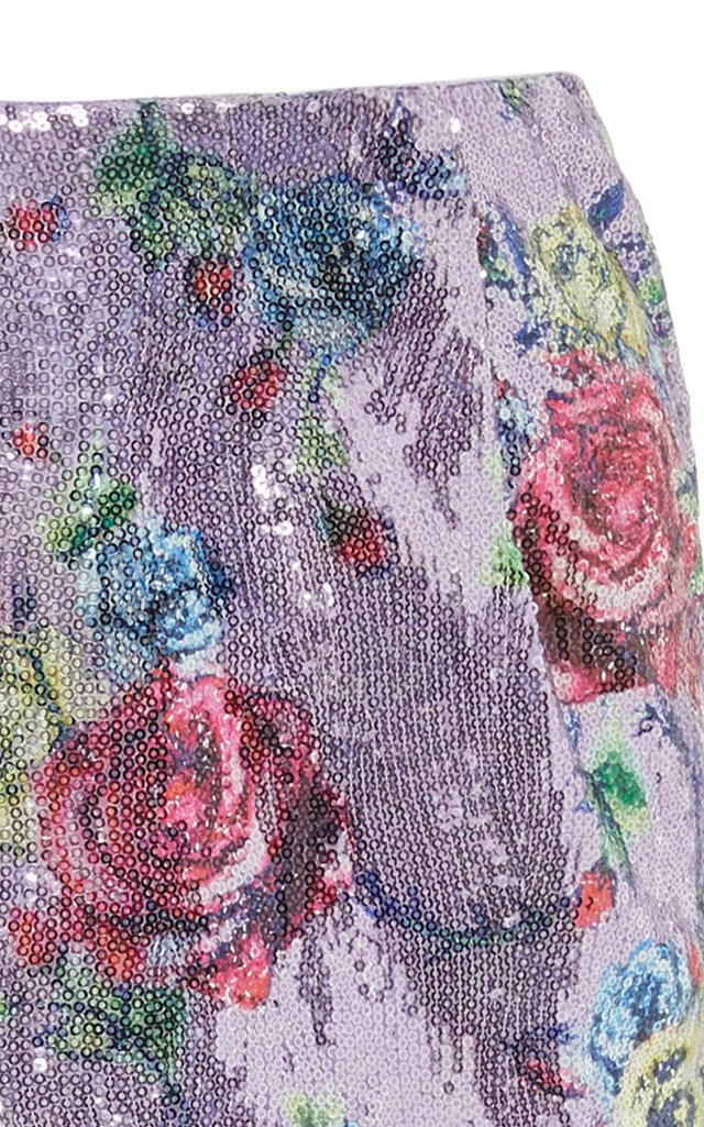 Sequined Floral-Print Pencil Skirt