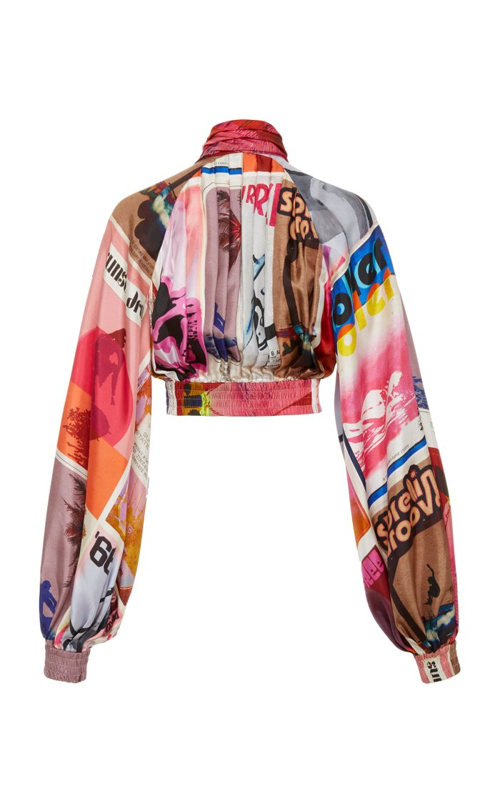 Wavelength Printed Silk Cropped Top