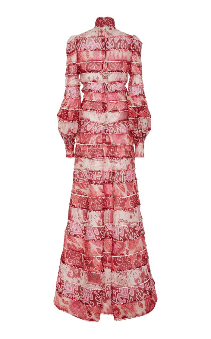Wavelength Tiered Printed Silk Dress