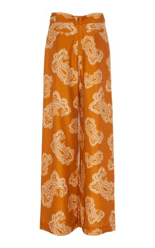 Wavelength Printed Silk Wide-Leg Trousers