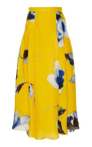 Pleated Floral-Print Silk-Satin Maxi Skirt