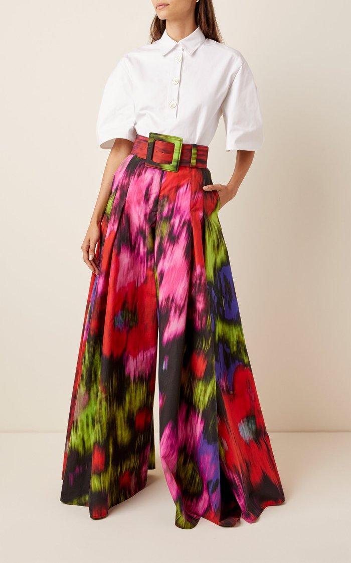 Printed Cotton-Blend Wide-Leg Pants