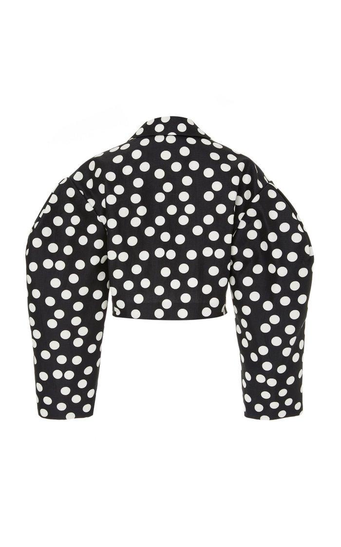 Polka-Dot Cotton-Silk Blend Cropped Jacket