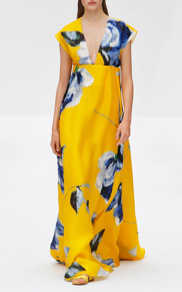 Sleeveless V-neck A-line Floral Print Gown