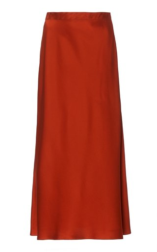 Bias High-Rise Satin Midi Skirt
