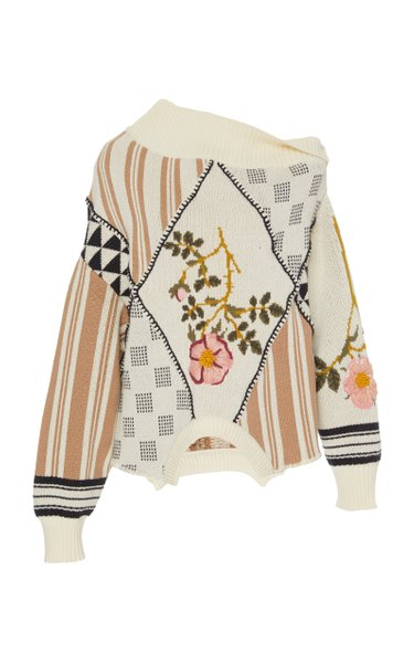 Upside Down Floral Intarsia Cotton Sweater