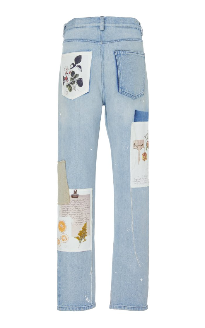 Patchwork Distressed Straight-Leg Jeans