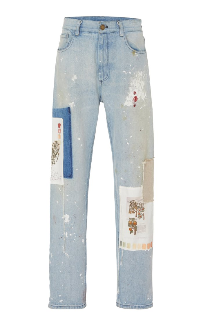 Patchwork Distressed Straight-Leg Jeans