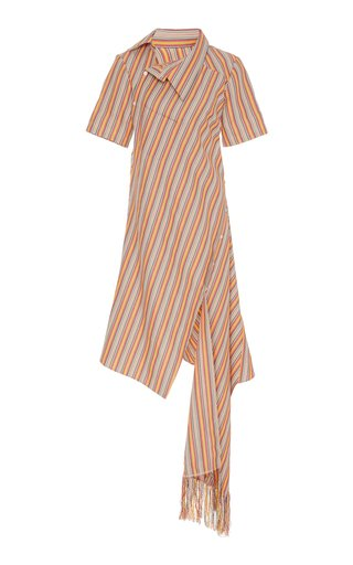 Asymmetric Striped Cotton-Blend Dress