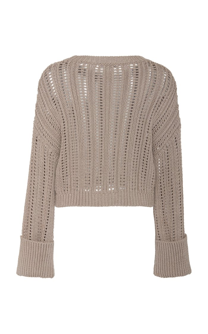 Cropped Metallic Cotton-Blend Sweater