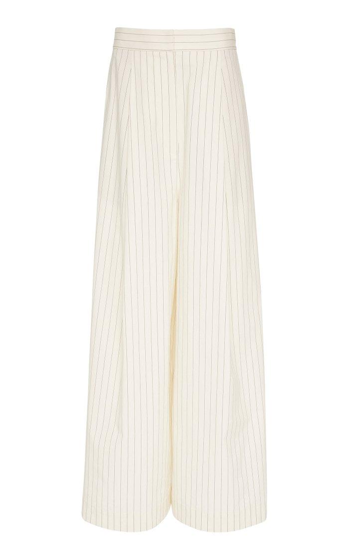 Pinstripe Pleated Stretch-Cotton Wide-Leg Pants