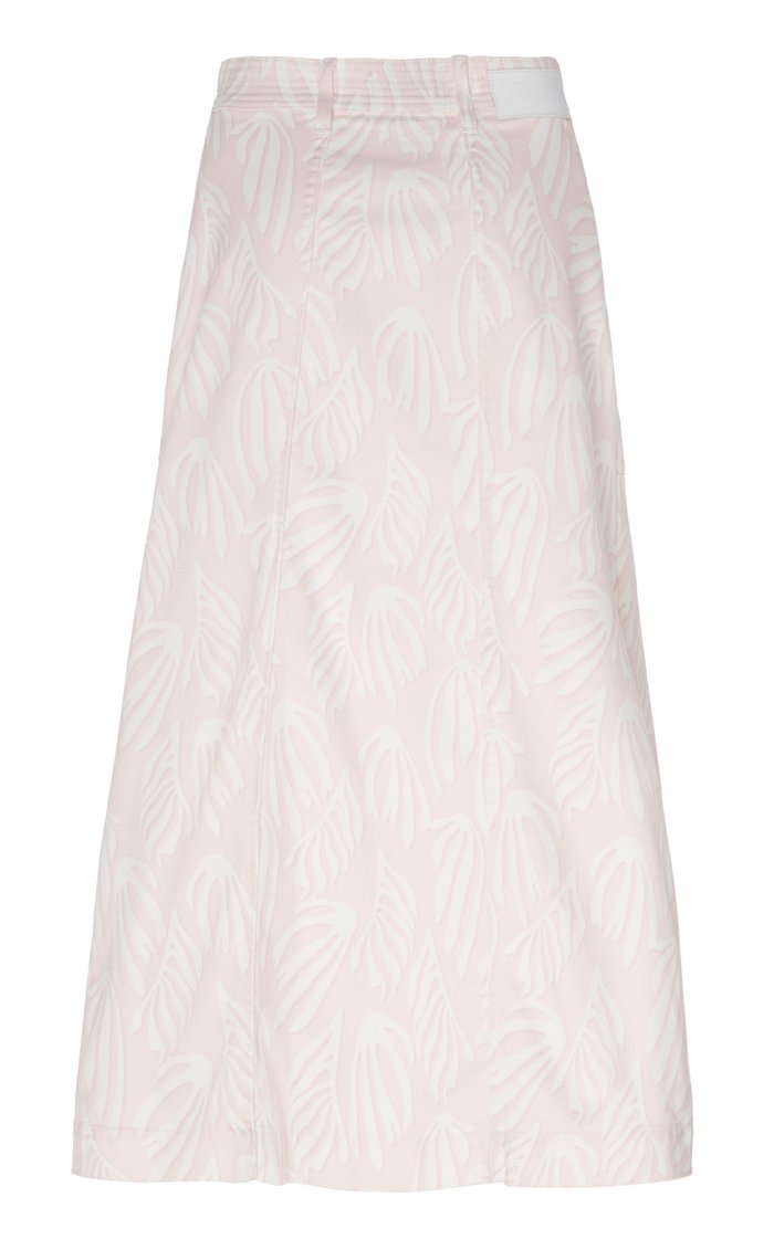 Fontana Printed Denim Midi Skirt