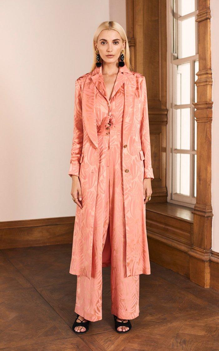 Fresco Silk Jacquard Tie-Front Jumpsuit