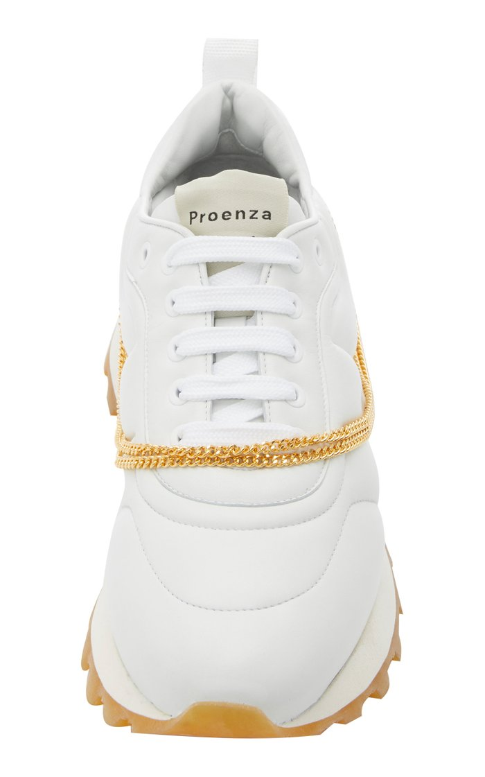 Chain-Embellished Leather Sneakers