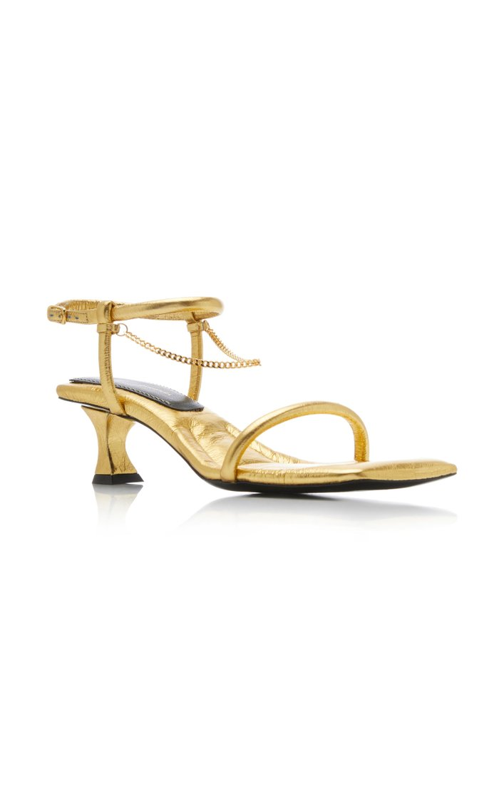 Chain-Embellished Metallic Leather Sandals