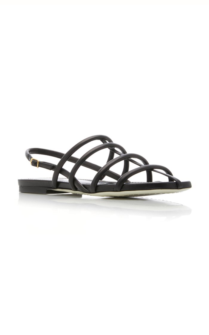 Caged Leather Slingback Sandals
