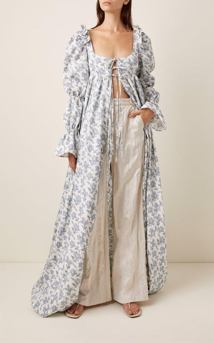 Ruffled Floral-Print Cotton-Blend Maxi Dress