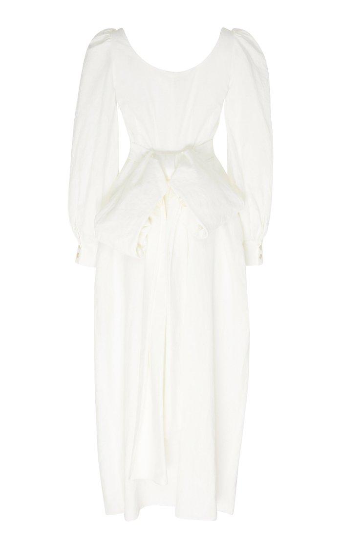 Bow-Detailed Cotton-Blend Maxi Dress