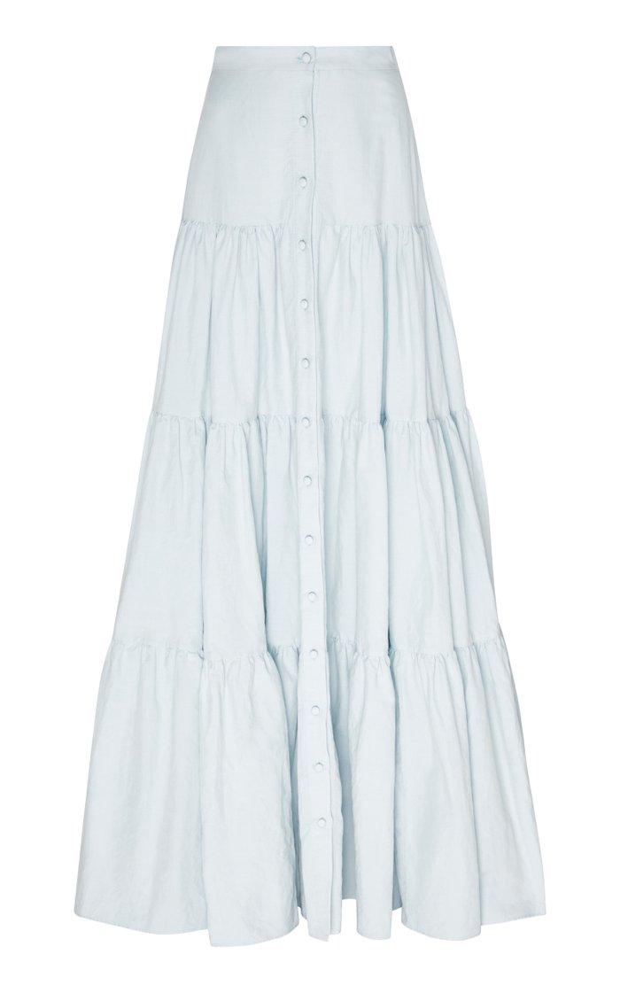 Tiered Cotton-Poplin Maxi Skirt