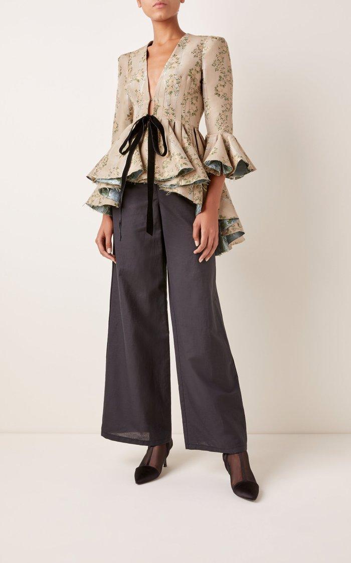 Floral-Jacquard Tie-Detailed Peplum Jacket