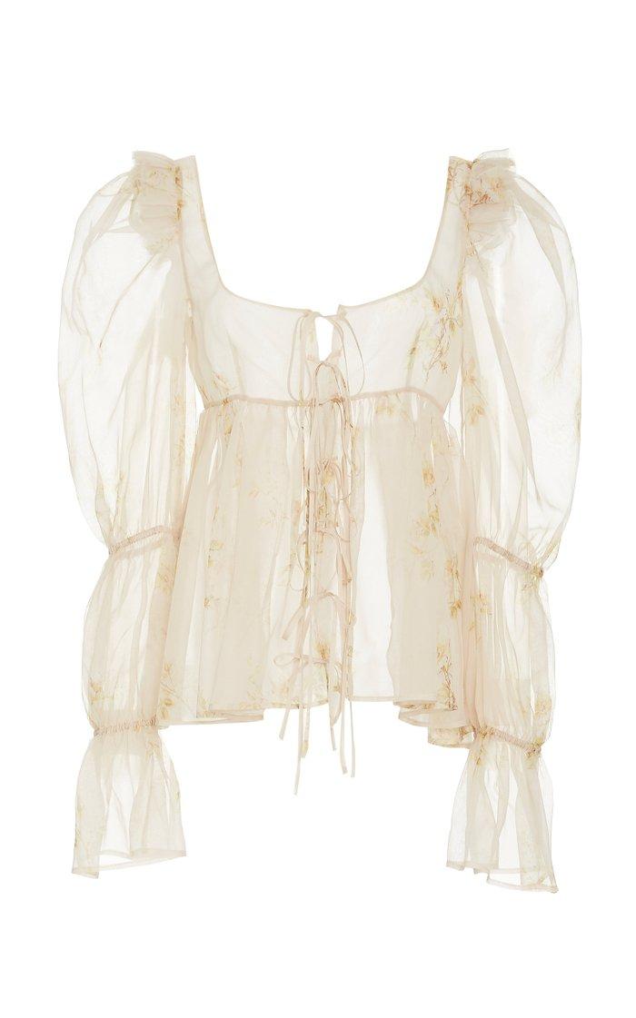 Ruffled Floral-Print Silk-Chiffon Top
