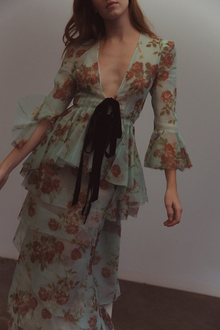 Floral-Print Tie-Detailed Silk-Chiffon Jacket