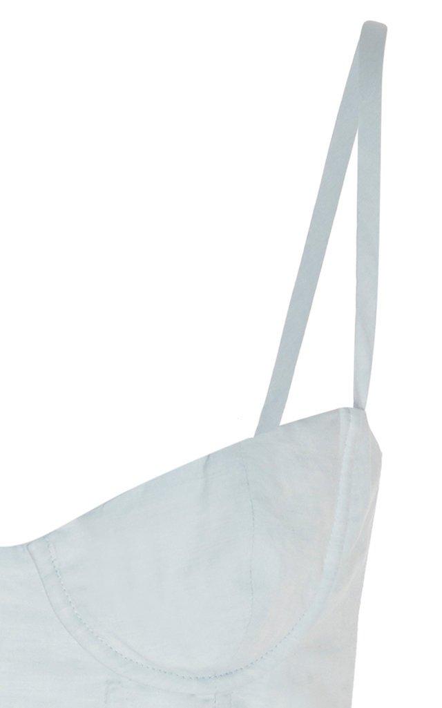 Peplum Cotton-Poplin Bustier Top