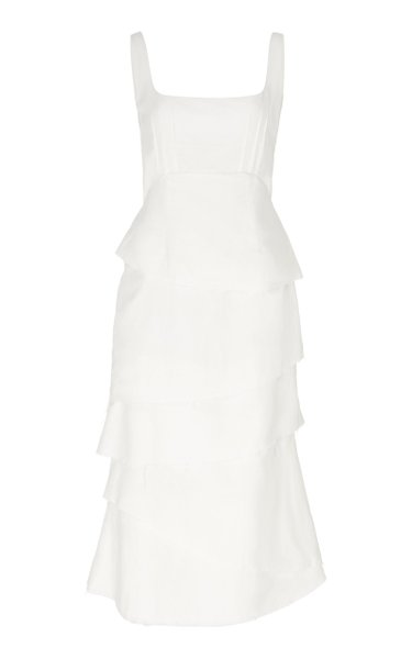 Tiered Cotton-Blend Midi Dress