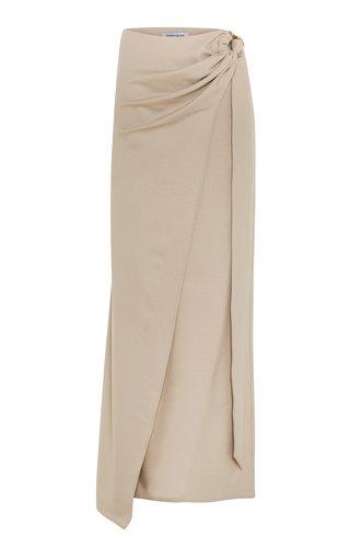 Arielle Draped Wool-Blend Maxi Skirt