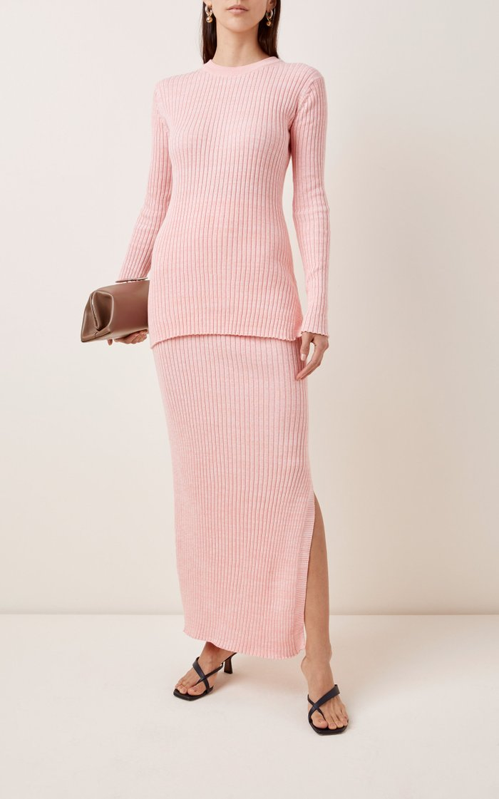 Ruby Ribbed Cotton Maxi Skirt